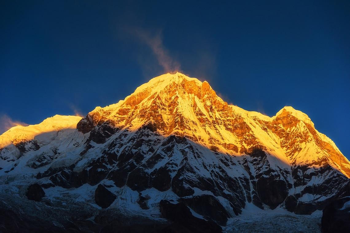 Mt.-Annapurna-at-sunrise-from-Annapurna-base-camp,-Nepal.